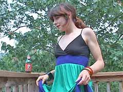lifting her dress