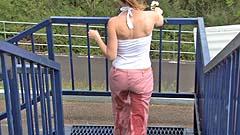 Georgia wetting her pants next to some locks