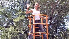 Georgia wetting her pants on a playground tugboat