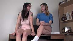 Mela and Vicktoria pee on a desk
