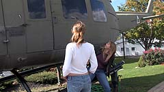 Georgia and Vicktoria wetting their pants by a helicopter