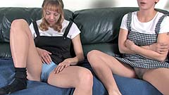 Vicktoria starts wetting her panties and the couch