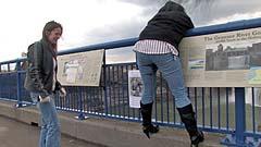 Mela watches Beth wet her pants