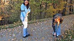 Mela and Victoria compare how far their pee streams ran
