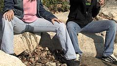 Mela soaks the rock she is sitting on