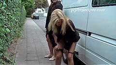 Maja pulls up her skirt