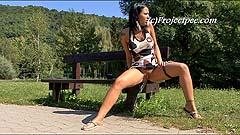 Roxy peeing on park bench