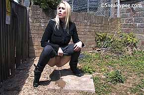 blonde pissing outside