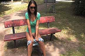 peeing while seated on a bench