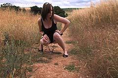 peeing in a field