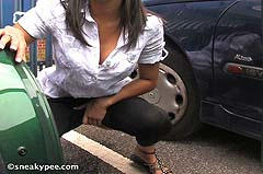 peeing between parked cars