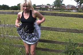 girl lifting her dress