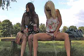 girl peeing from wooden bench